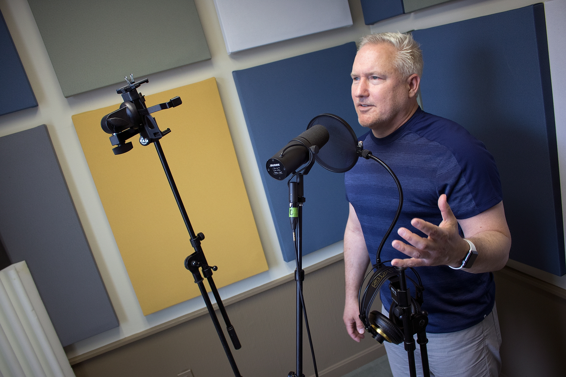 <p><em>Big Audacious Idea host, Craig James, recording the final episode of the season in his new recording booth.</em></p>